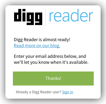 Google Reader の後継になれるか? Digg Reader がロールアウト