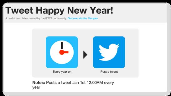 IFTTTでHappy New Yearをツィートするレシピを試してみよう