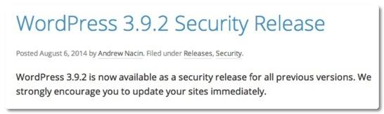 WordPress 3.9.2 がリリースされました、セキュリティリリースなので早めのアップデートをお勧めします