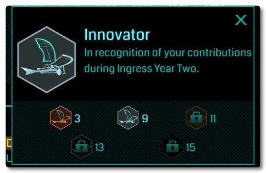 イングレス2周年記念のイノベータメダルは銀色をいただきました