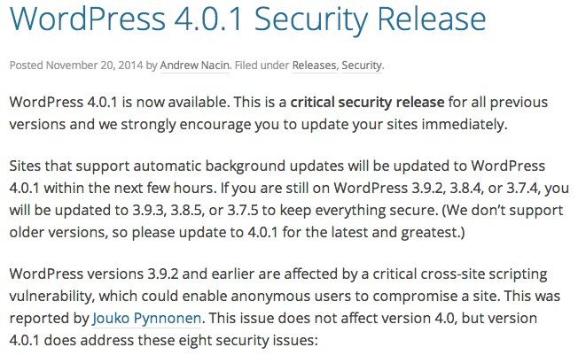 WordPress 4.0.1 がリリース、クロスサイトの脆弱性対応のセキュリティアップデートなので早めに適用しましょう
